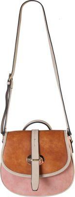 Diophy Three Tone Saddle Crossbody Handbag Pink - Diophy Manmade Handbags