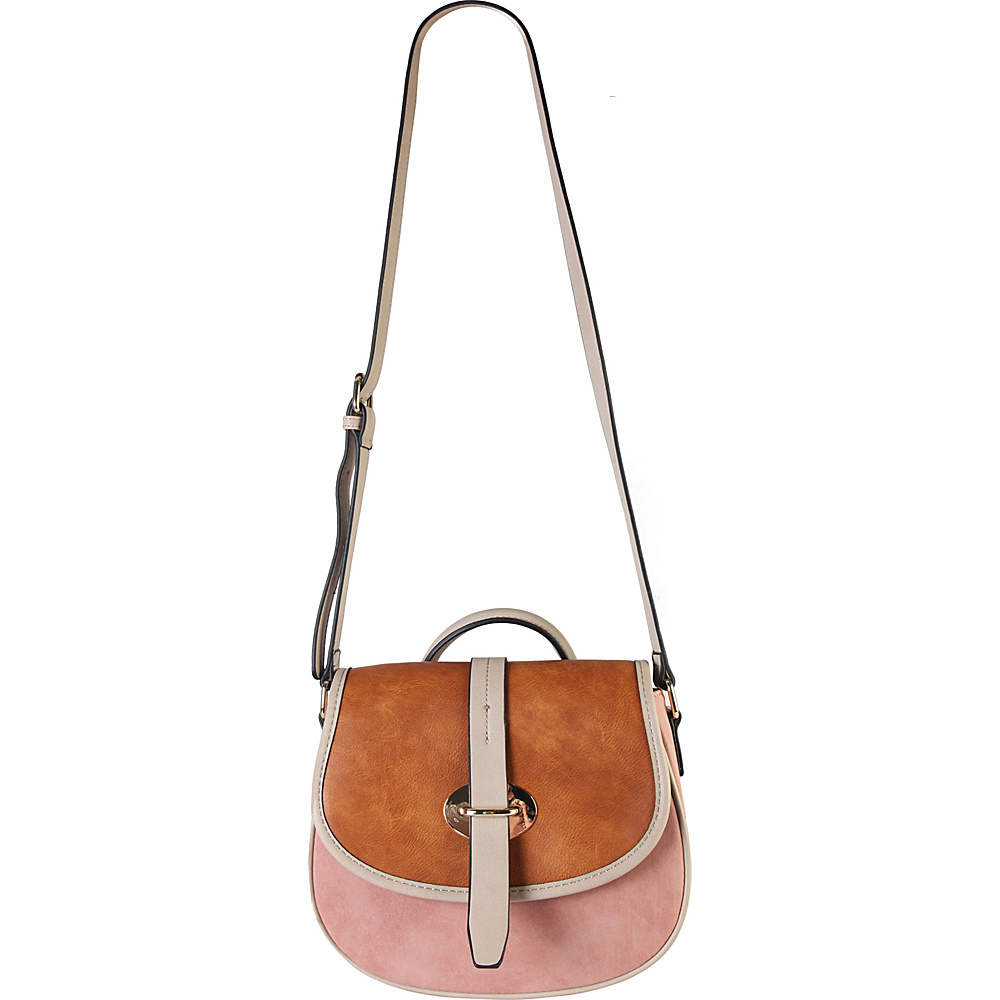 Diophy Three Tone Saddle Crossbody Handbag Pink Diophy Manmade Handbags