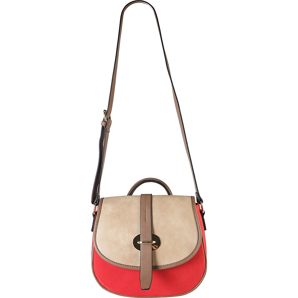 Diophy Three Tone Saddle Crossbody Handbag Red Diophy Manmade Handbags