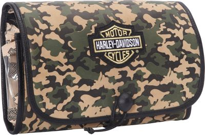 Harley Davidson by Athalon Tri-Fold Leather Hanging Toiletry Kit Camouflage - Harley Davidson by Athalon Toiletry Kits