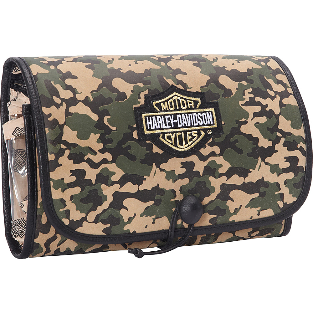 Harley Davidson by Athalon Tri Fold Leather Hanging Toiletry Kit Camouflage Harley Davidson by Athalon Toiletry Kits