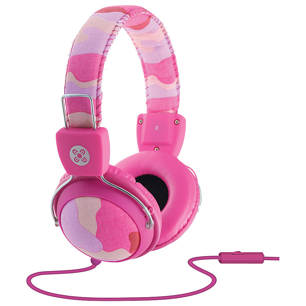 Moki Camo Headphones w In Line Mic Pink Moki Headphones Speakers