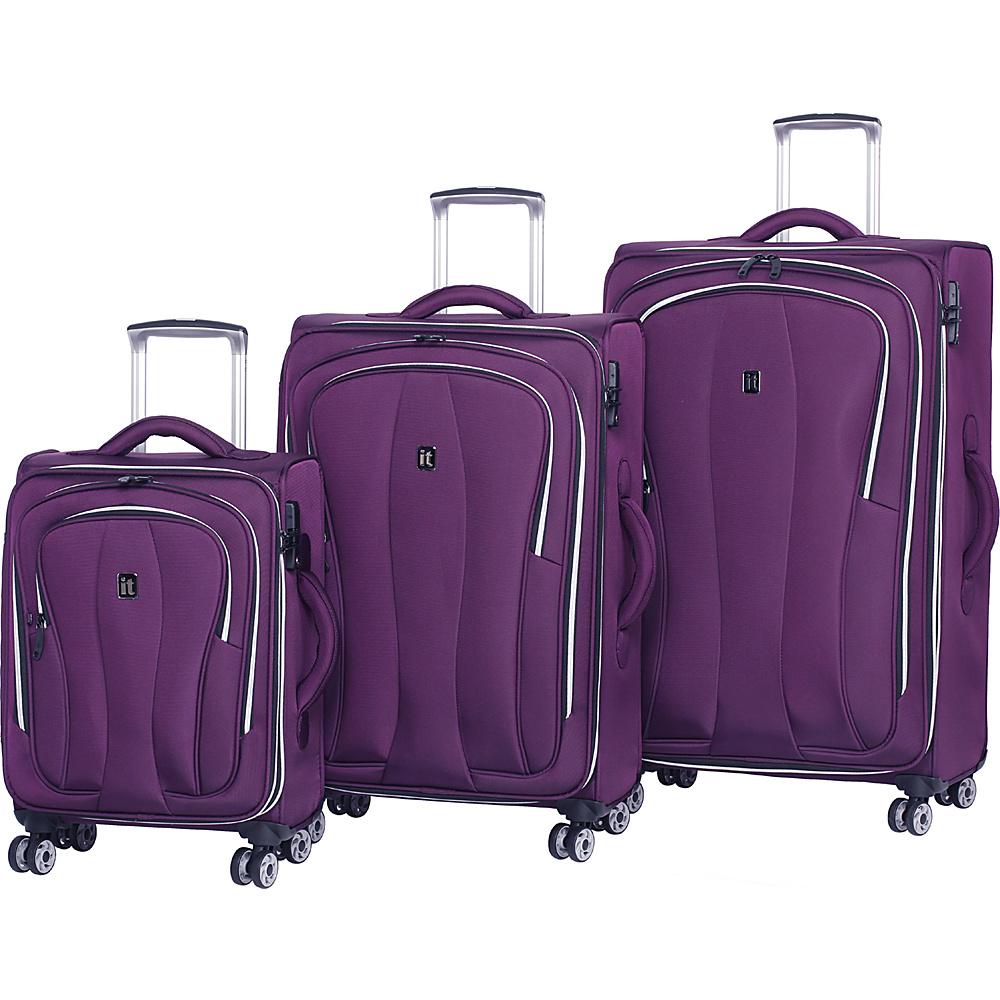 it luggage Daybreak 8 Wheel 3 Piece Luggage Set Potent Purple - it luggage Luggage Sets