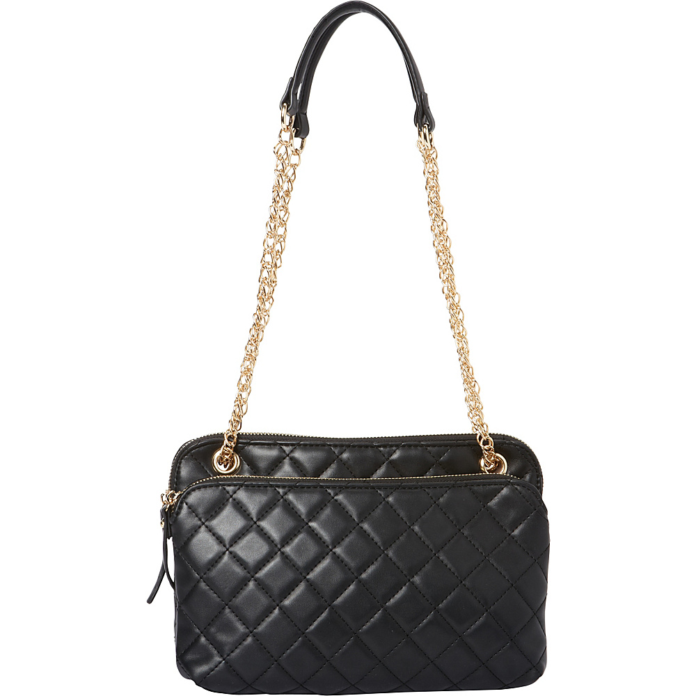La Diva Faye Quilted Shoulder Bag Black La Diva Manmade Handbags
