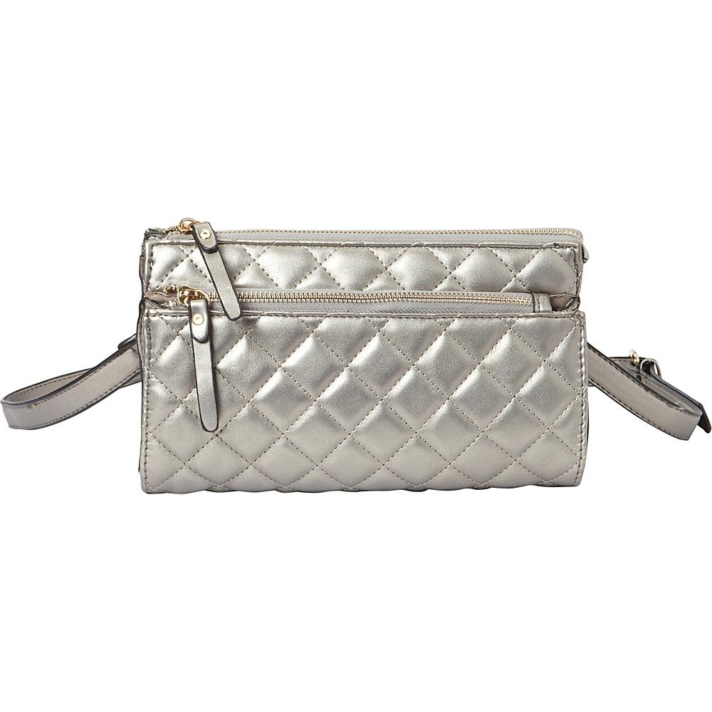 La Diva Gaby Quilted Crossbody Pewter La Diva Manmade Handbags