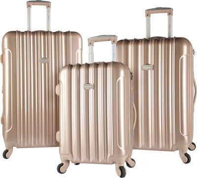 Kensie Luggage 3 PC Expandable Hard Side Spinner Luggage Set Pale Gold - Kensie Luggage Luggage Sets