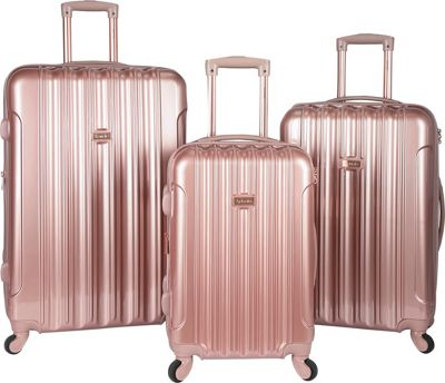 Kensie Luggage 3 PC Expandable Hard Side Spinner Luggage Set Rose Gold - Kensie Luggage Luggage Sets
