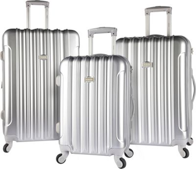 Kensie Luggage 3 PC Expandable Hard Side Spinner Luggage Set Silver - Kensie Luggage Luggage Sets