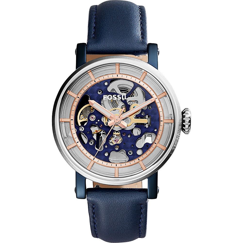 Fossil Original Boyfriend Automatic Leather Watch Blue - Fossil Watches - Fashion Accessories, Watches