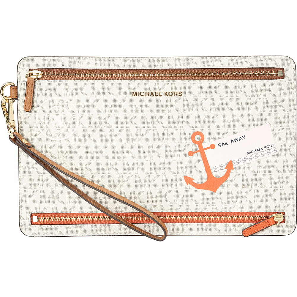 MICHAEL Michael Kors Illustrations SL Away Large Travel Wristlet Vanilla Acorn MICHAEL Michael Kors Leather Handbags