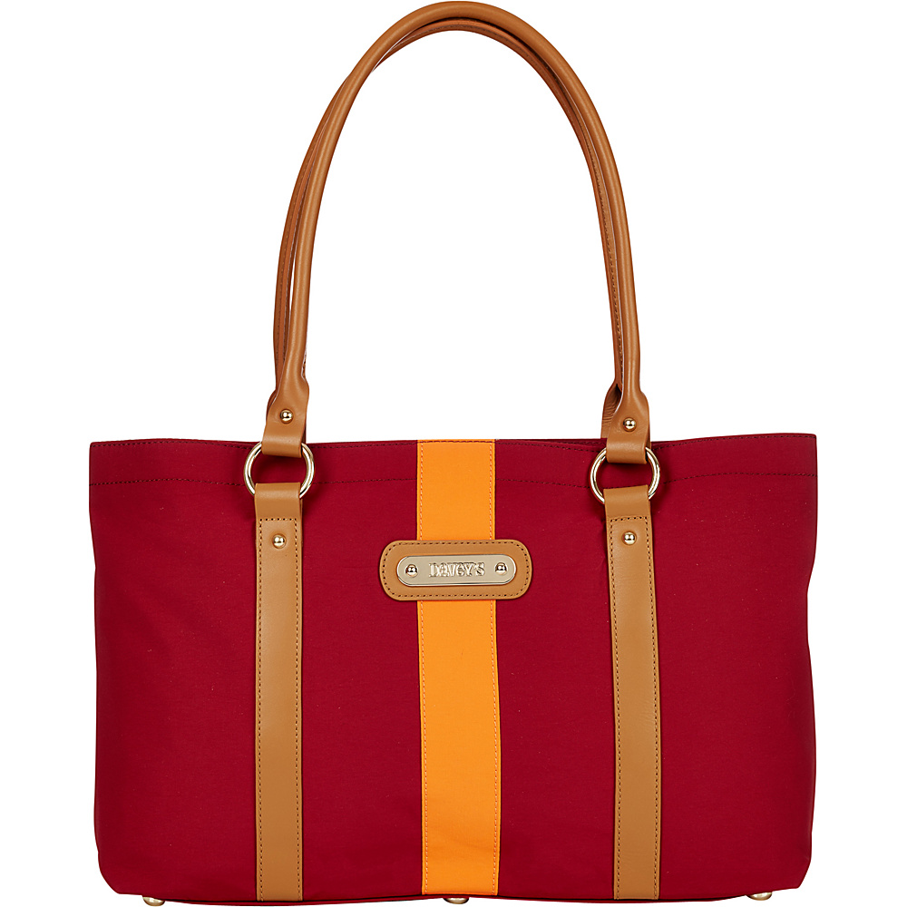 Davey s Large Stripe Tote Maroon Orange Stripe Davey s Fabric Handbags