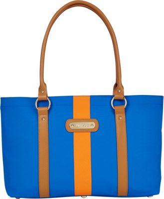 Davey's Large Stripe Tote Royal/Orange Stripe - Davey's Fabric Handbags