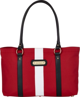 Davey's Large Stripe Tote Red/White Stripe/Black Leather - Davey's Fabric Handbags