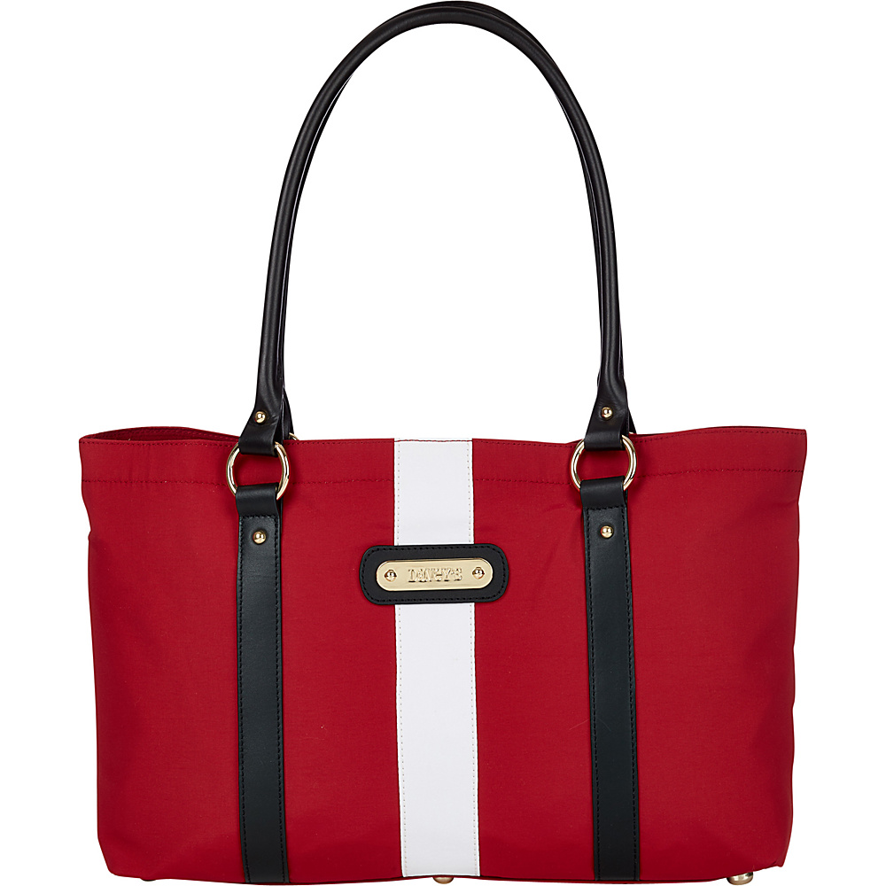 Davey s Large Stripe Tote Red White Stripe Black Leather Davey s Fabric Handbags