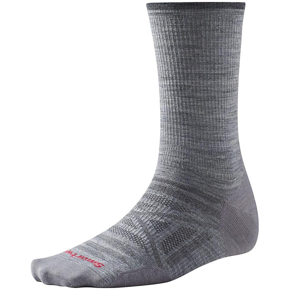 Smartwool PhD Outdoor Ultra Light Crew Light Gray Medium Smartwool Men s Legwear Socks