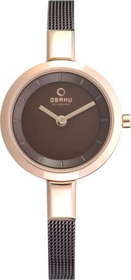 Obaku Watches Womens Stainless Steel Mesh Watch Brown/Rose Gold - Obaku Watches Watches