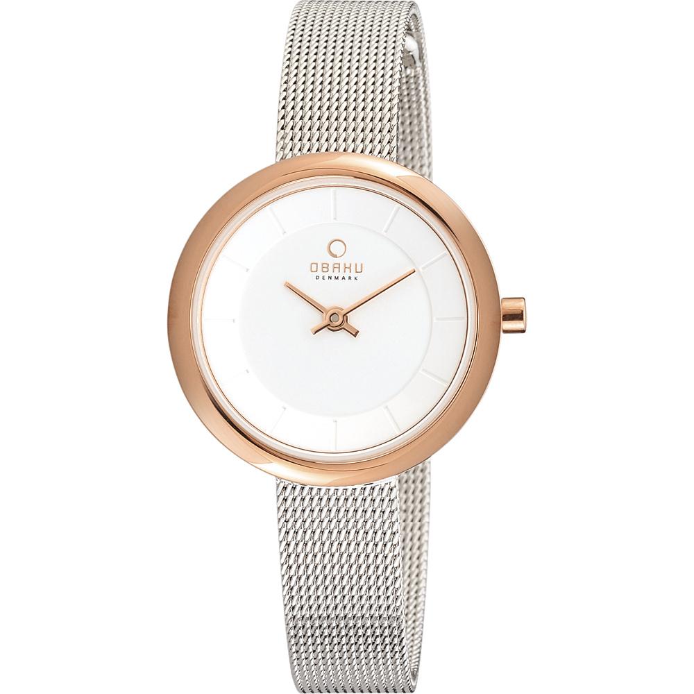 Obaku Watches Womens Stainless Steel Mesh Watch Silver Rose Gold Obaku Watches Watches