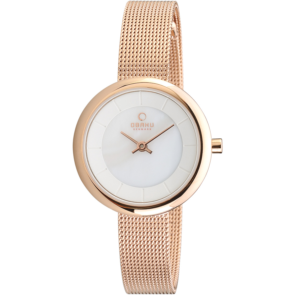 Obaku Watches Womens Stainless Steel Mesh Watch Rose Gold White Obaku Watches Watches