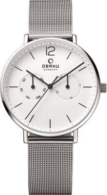 Obaku Watches Mens Ceramic Multifunction Stainless Steel Mesh Watch Silver/Silver - Obaku Watches Watches