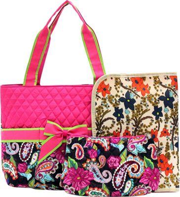 Rosenblue Annabelle 3 Piece Diaper Bag Set Multi/Fuchsia - Rosenblue Diaper Bags & Accessories