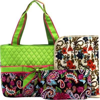 Rosenblue Annabelle 3 Piece Diaper Bag Set Multi/Lime - Rosenblue Diaper Bags & Accessories