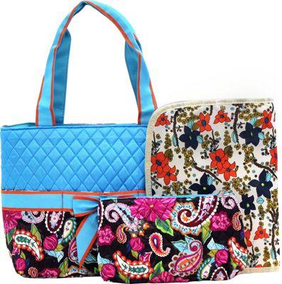 Rosenblue Annabelle 3 Piece Diaper Bag Set Multi/Turquoise - Rosenblue Diaper Bags & Accessories