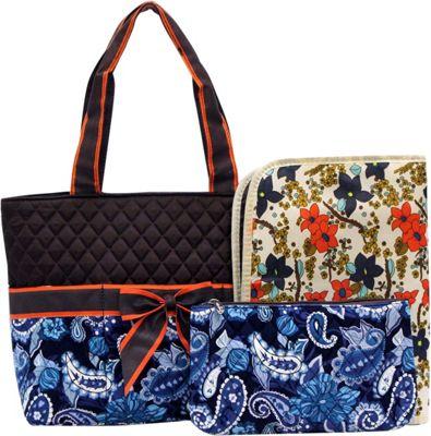 Rosenblue Annabelle 3 Piece Diaper Bag Set Navy/Brown - Rosenblue Diaper Bags & Accessories