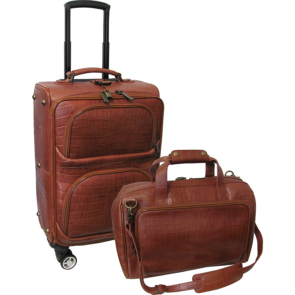 AmeriLeather Traveler Croco Print Leather 2pc Spinner Luggage Set Brown - AmeriLeather Luggage Sets - Luggage, Luggage Sets