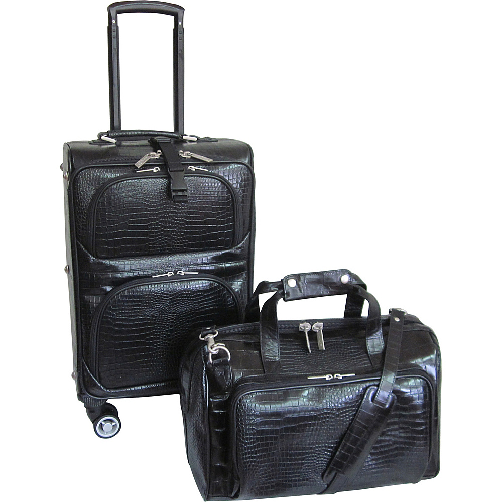 AmeriLeather Traveler Croco Print Leather 2pc Spinner Luggage Set Black - AmeriLeather Luggage Sets - Luggage, Luggage Sets