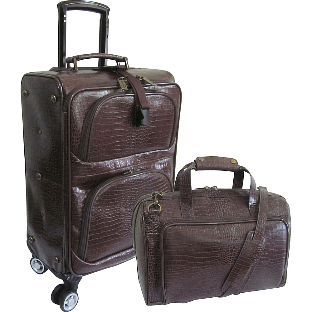 AmeriLeather Traveler Croco Print Leather 2pc Spinner Luggage Set Waxy Brown - AmeriLeather Luggage Sets - Luggage, Luggage Sets