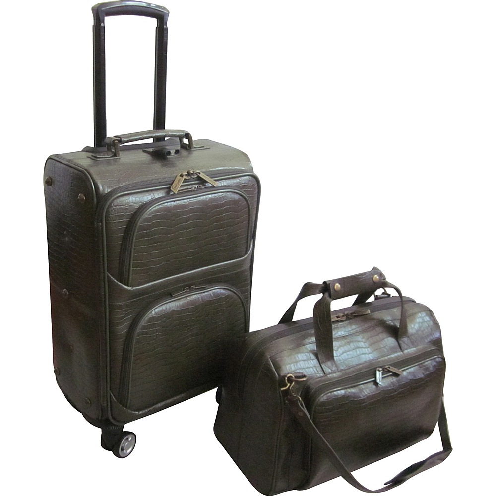 AmeriLeather Traveler Croco Print Leather 2pc Spinner Luggage Set Moss - AmeriLeather Luggage Sets - Luggage, Luggage Sets