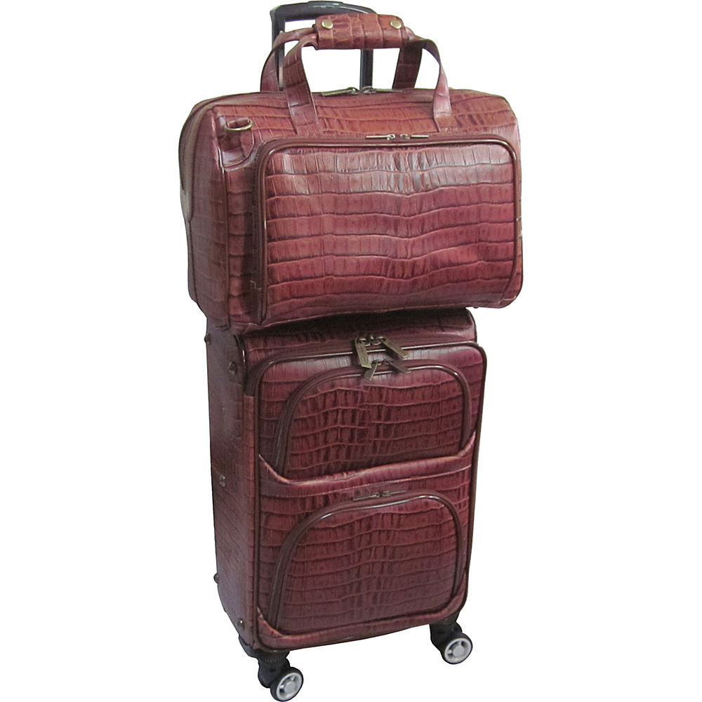 AmeriLeather Traveler Croco Print Leather 2pc Spinner Luggage Set Brown Two-tone - AmeriLeather Luggage Sets - Luggage, Luggage Sets