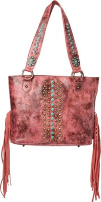 Montana West Studded Fringe Collection Pink - Montana West Manmade Handbags