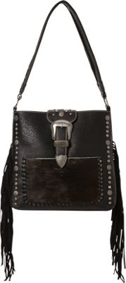 Montana West Buckle Handbag with Hair-On and Fringe Black - Montana West Manmade Handbags