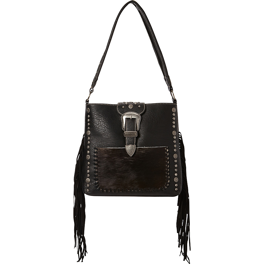Montana West Buckle Handbag with Hair On and Fringe Black Montana West Manmade Handbags