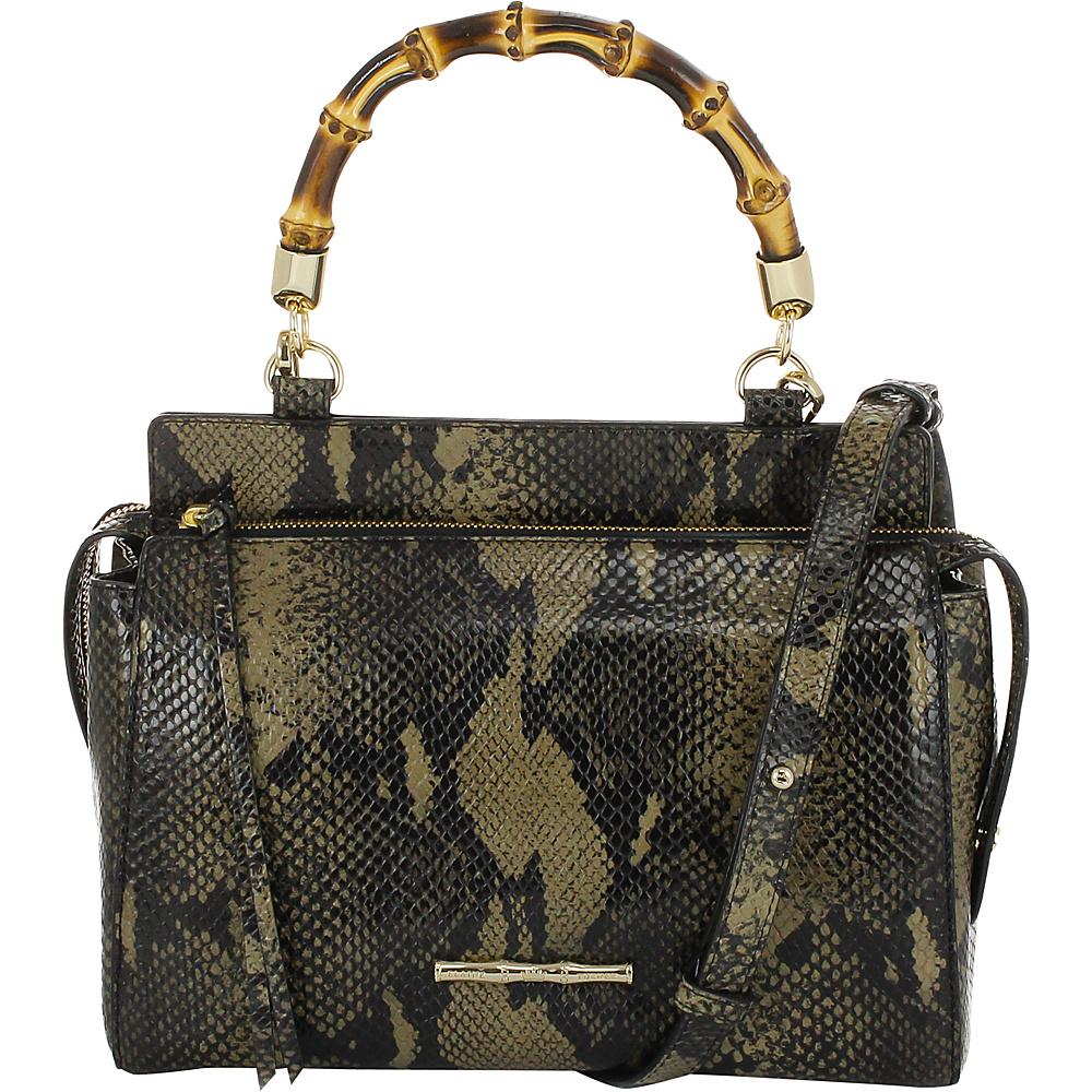 Elaine Turner Olive Python Satchel Golden Moss Python Elaine Turner Designer Handbags