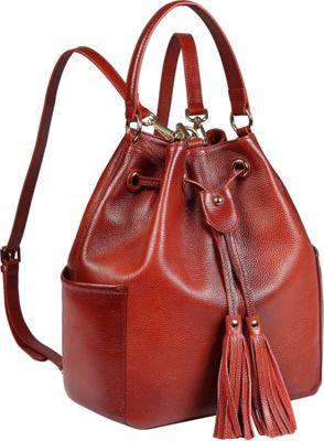 Vicenzo Leather Chalise Leather Bucket Bag Backpack Red - Vicenzo Leather Leather Handbags