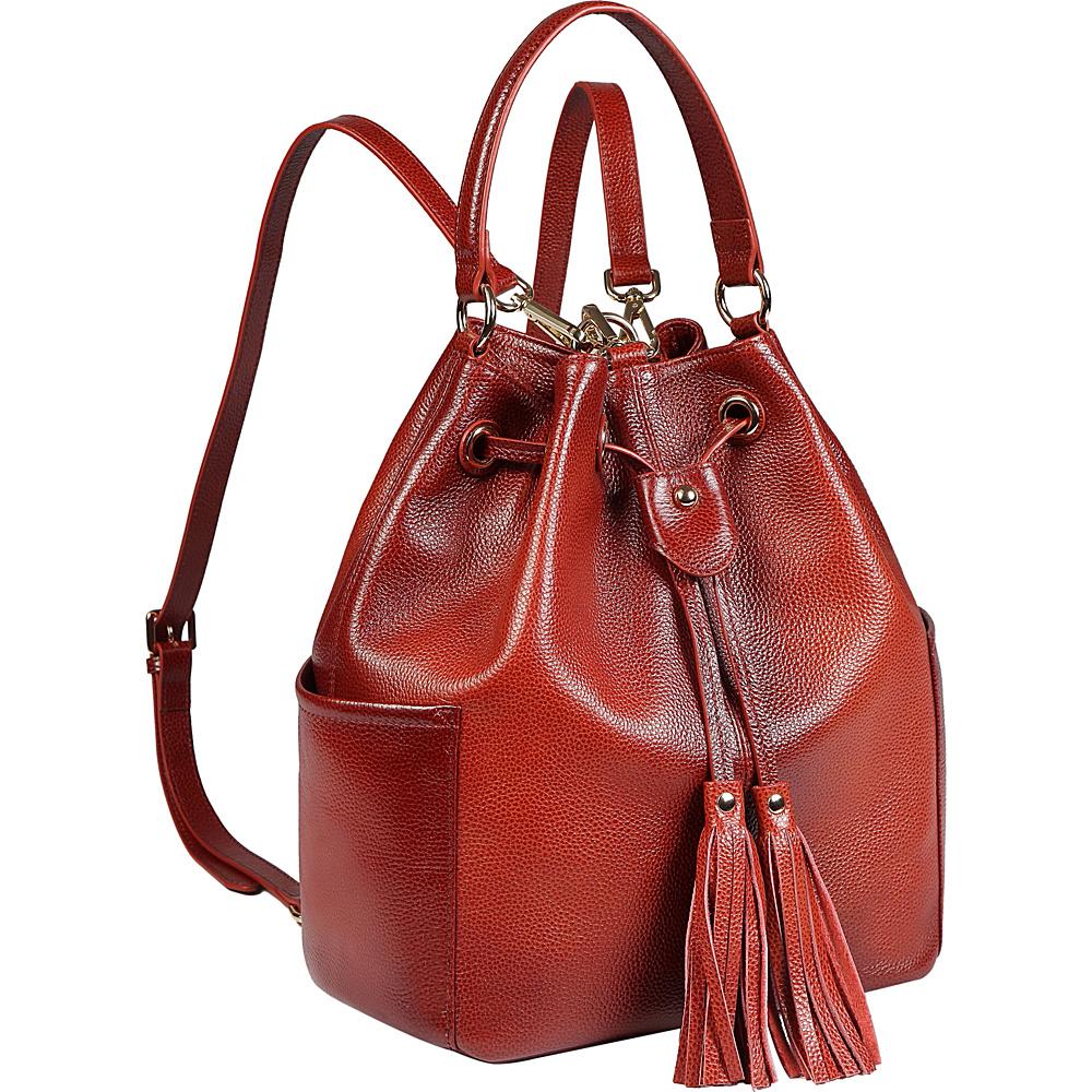 Vicenzo Leather Chalise Leather Bucket Bag Backpack Red Vicenzo Leather Leather Handbags