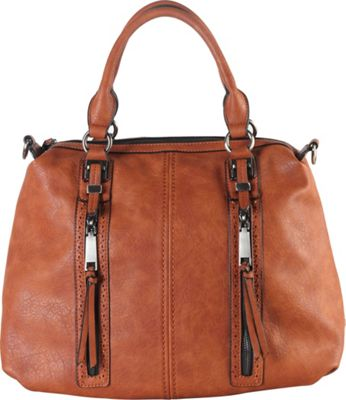 Diophy Double Front Pockets Doctor-Style Tote Brown - Diophy Manmade Handbags