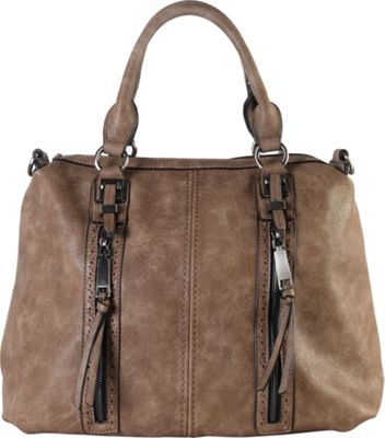 Diophy Double Front Pockets Doctor-Style Tote Khaki - Diophy Manmade Handbags