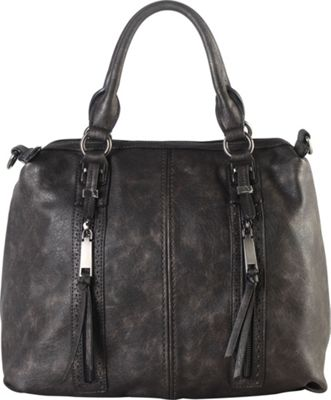 Diophy Double Front Pockets Doctor-Style Tote Pewter - Diophy Manmade Handbags