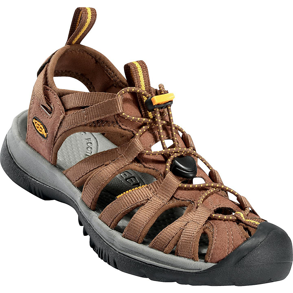 KEEN Womens Whisper Sandal 10.5 - Coffee Liqueur/Keen Yellow - KEEN Womens Footwear - Apparel & Footwear, Women's Footwear