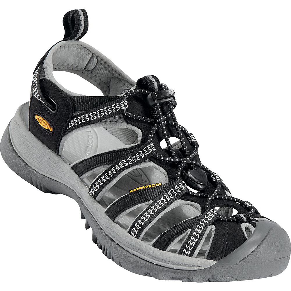 KEEN Womens Whisper Sandal 7 - Black/Neutral Gray - KEEN Womens Footwear - Apparel & Footwear, Women's Footwear