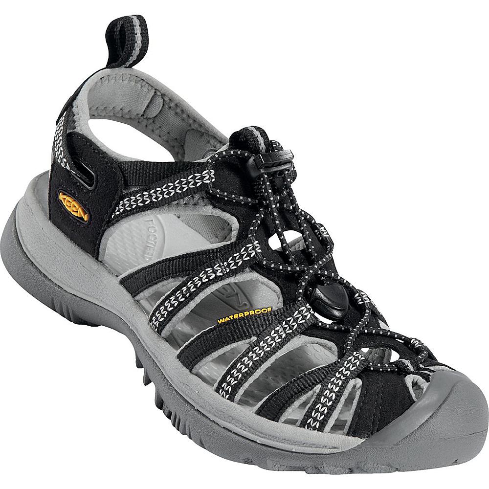 KEEN Womens Whisper Sandal 6 - Black/Neutral Gray - KEEN Womens Footwear - Apparel & Footwear, Women's Footwear