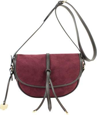 London Fog Handbags Newbury Saddle Crossbody Plum Suede - London Fog Handbags Manmade Handbags