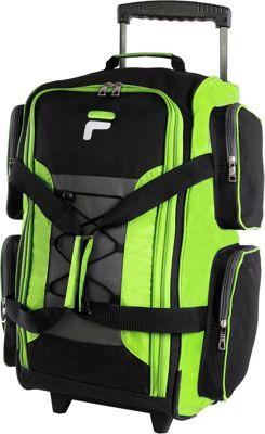 "Fila 22"" Lightweight Carry On Rolling Duffel Bag Neon Lim..."