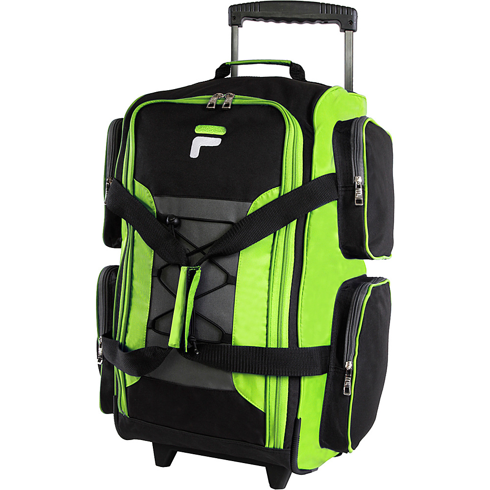 Fila 22 Lightweight Carry On Rolling Duffel Bag Neon Lime Fila Rolling Duffels