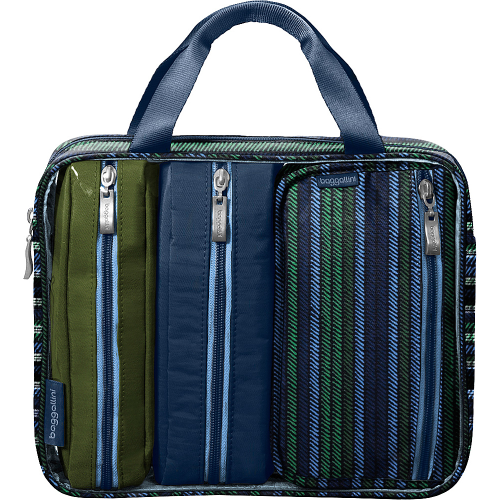 baggallini Travel Trio Moss Stripe Multi - baggallini Toiletry Kits - Travel Accessories, Toiletry Kits
