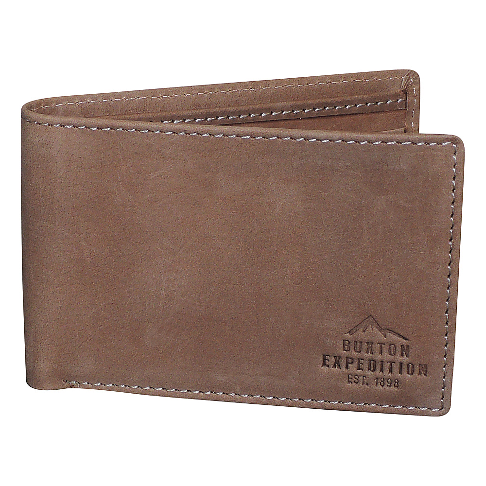 Buxton Expedition II RFID Front Pocket I.D. Slimfold Saddle - Buxton Mens Wallets - Work Bags & Briefcases, Men's Wallets