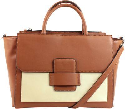 Emilie M Allie Satchel with Detachable Shoulder Strap Cognac Ivory - Emilie M Manmade Handbags